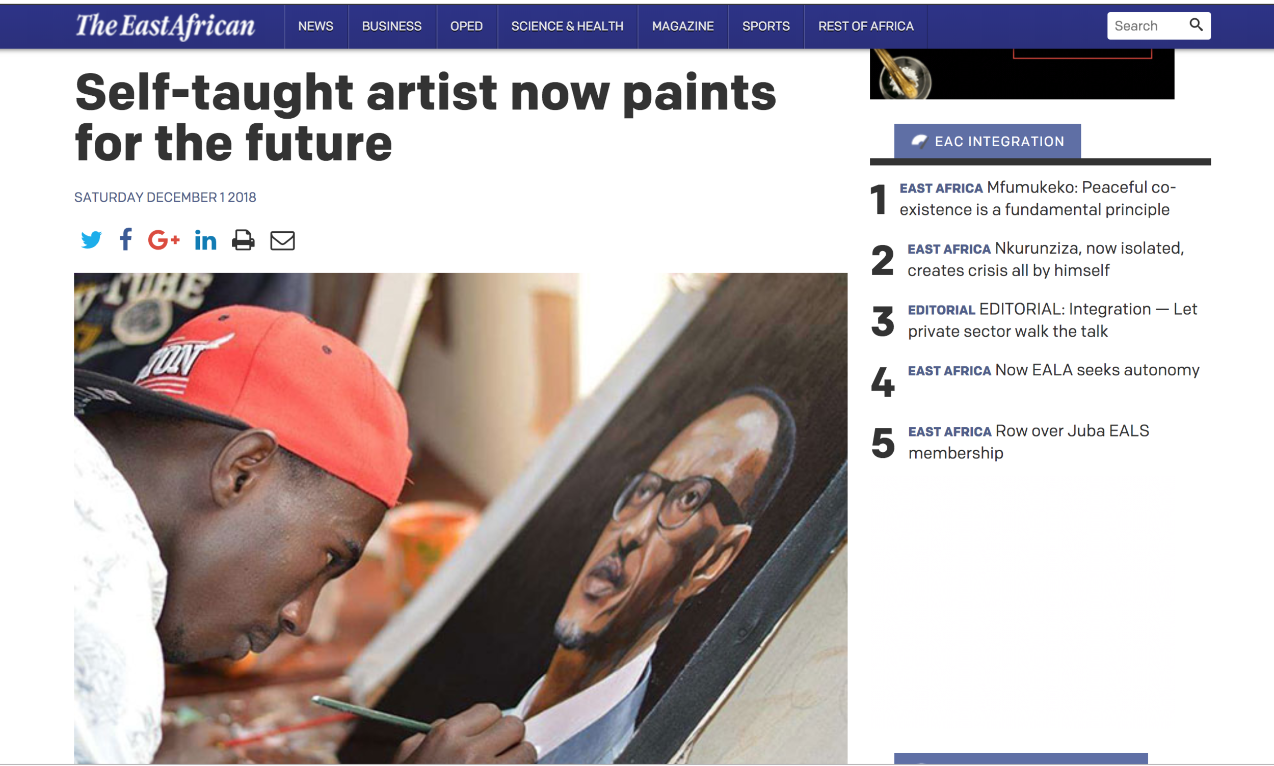 The East African featuring our resident artist Basengo Idi