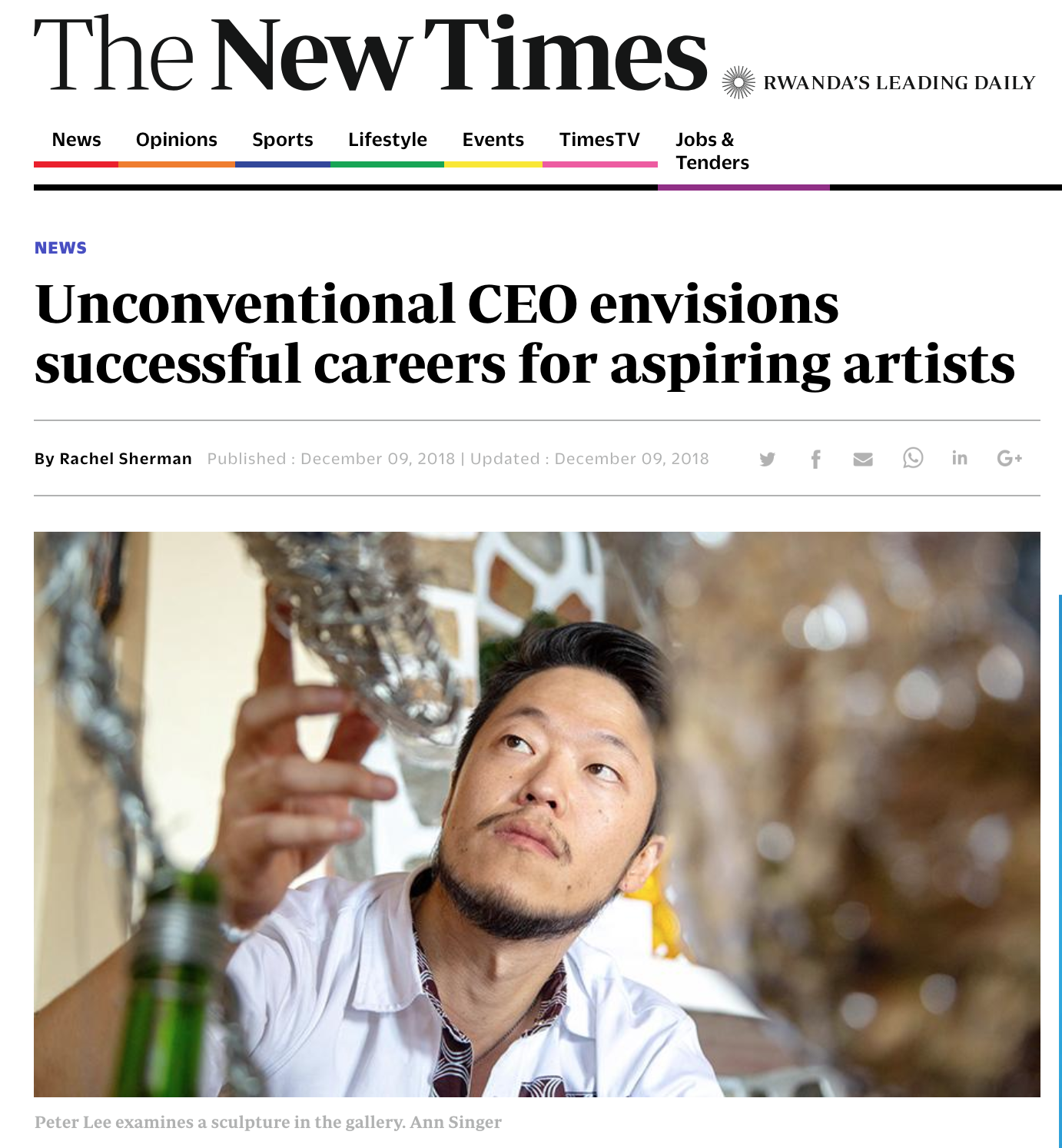 Interview at The New Times with Founder Peter Lee