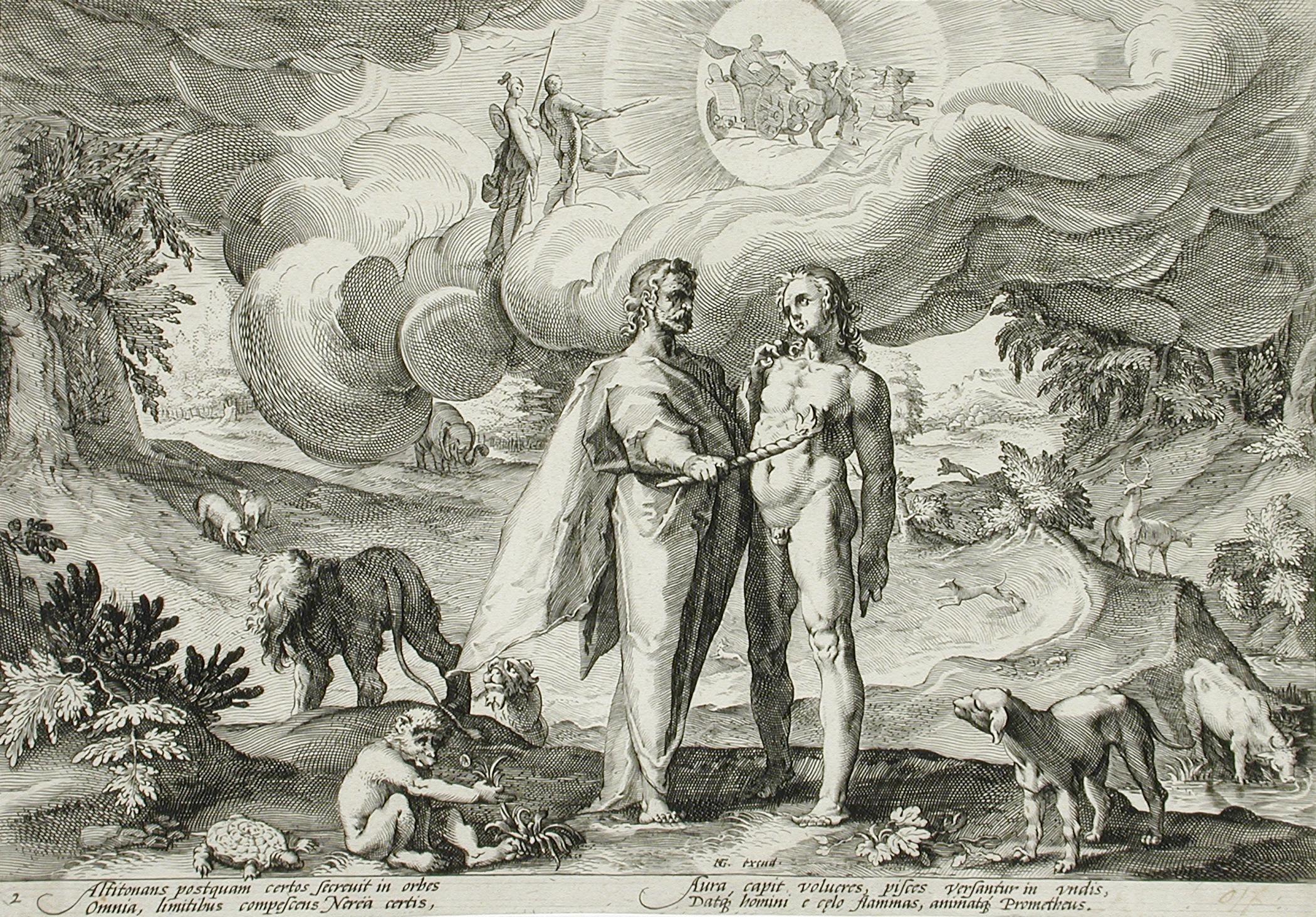 Prometheus Forms Man... by Hendrik Goltzius