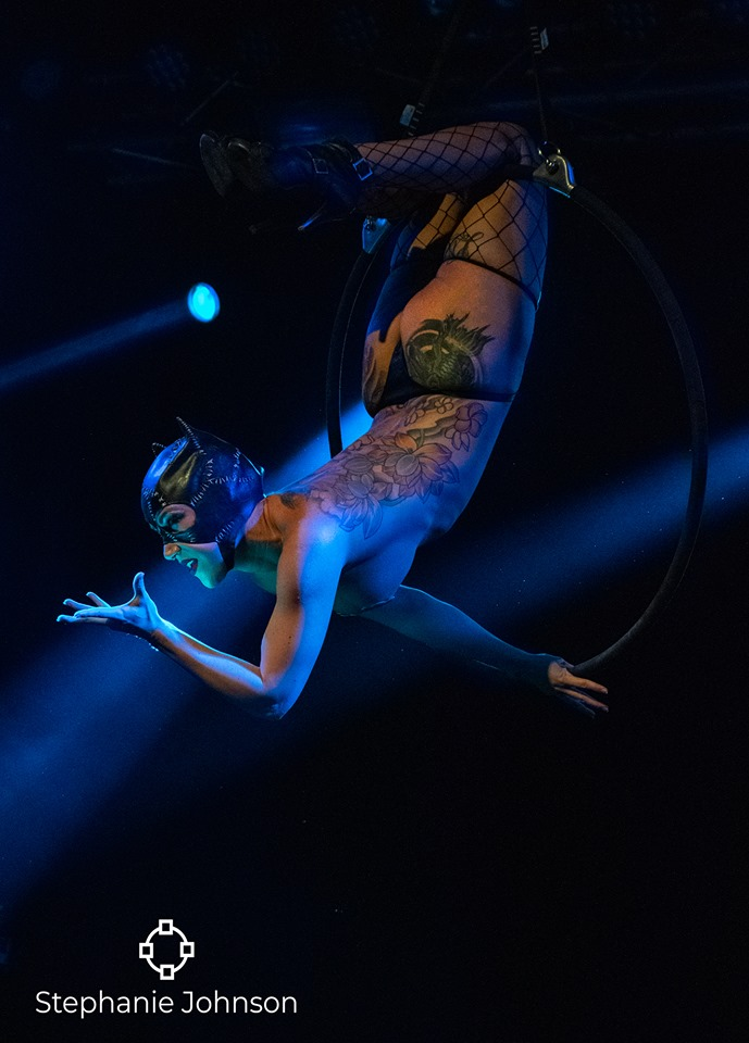 Courtney Crave performs above as Cat Woman for Texas Star Burlesque at Trees - Deep Ellum