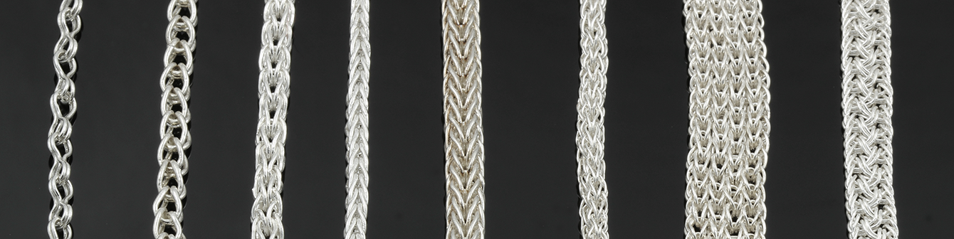 From left to right, 1) pinched loop, 2) single loop in loop, 3) two-way loop in loop, 4) double loop in loop, 5) two-way double loop in loop, 6) triple loop in loop, 7) multiple woven mesh, 8) thai weave.