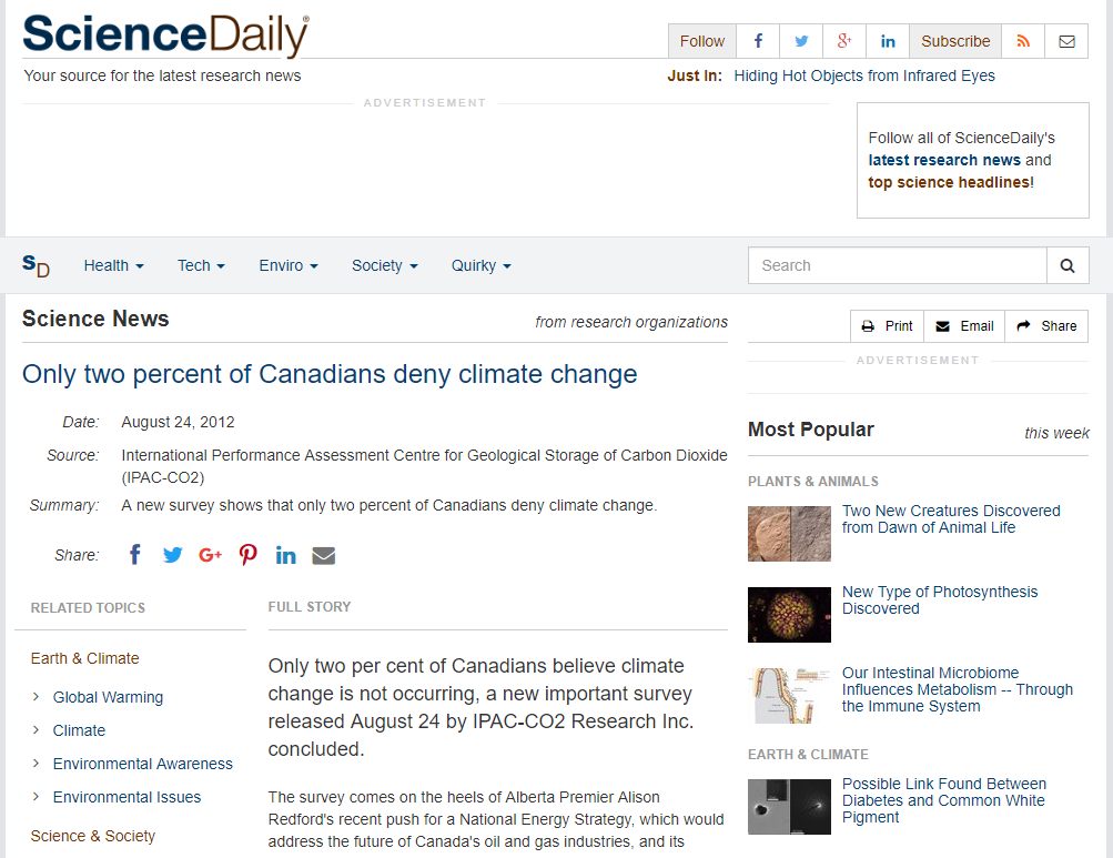 Press for a public opinion poll on Canadians' views on climate change.