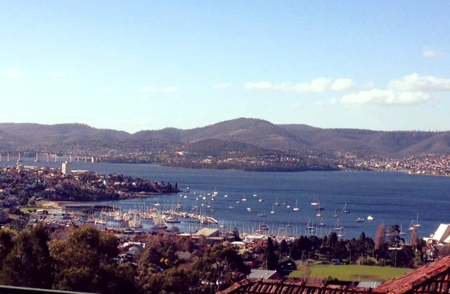 View of the harbour in Hobart from the University of Tasmania