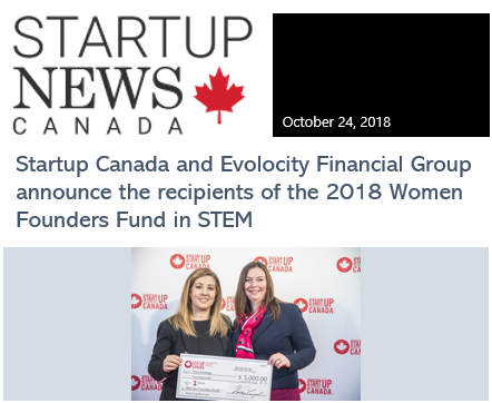 Coverage of my company's award at StartUp Canada in 2018.