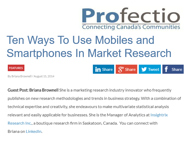 My guest posts on using smartphones and mobiles in market research for Profectio.