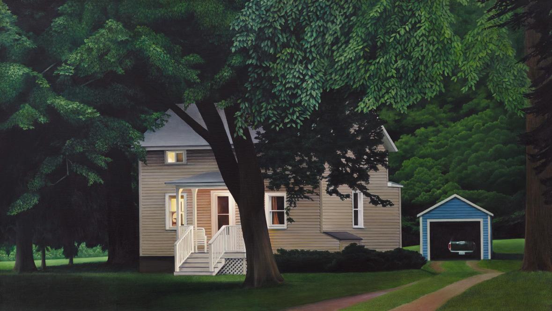 "Night Fell      26""x46""     2014     oil on canvas"