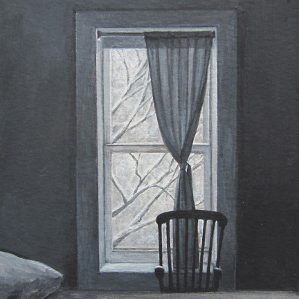 """The Apartment On Amity Street      6""""x6""""     2014     tempera and gesso on paper"""