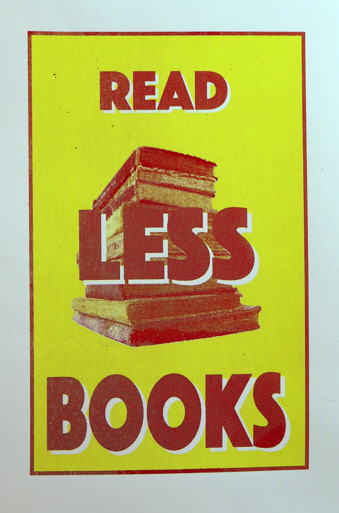 "Untitled (Read Less Books) CMYK on French paper 36""x20"" 2017"