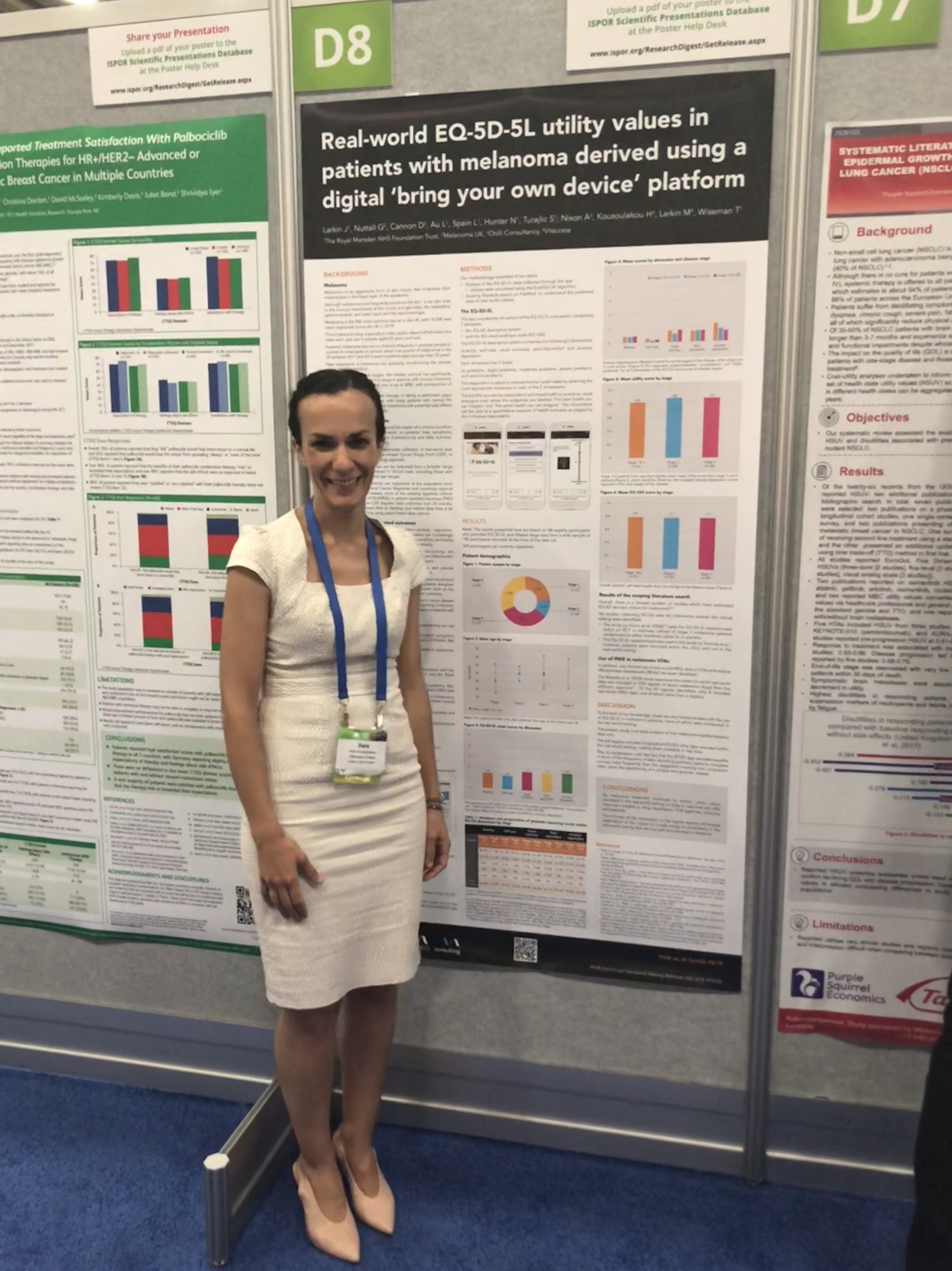 "Hara Kousoulakou presenting our poster at ISPOR Baltimore about ""Real-world EQ-5D-5L utility values in patients with melanoma derived using a digital ""bring your own device"" platform"