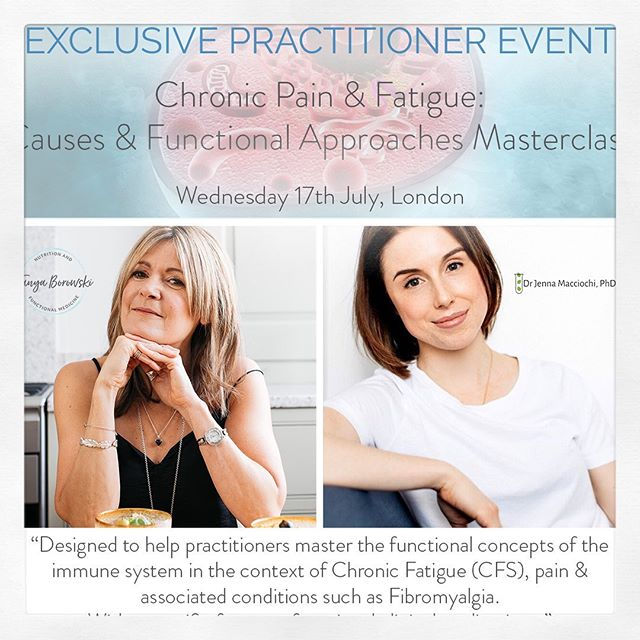 ✅ CLINICAL MASTERCLASS . ⠀⠀⠀⠀⠀⠀⠀⠀⠀⠀⠀⠀ 👩🏻‍🏫Following the success of our Spring Autoimmunity Masterclass and the increasing demand for Practitioner training focusing on immunity, I'm delighted to announce the next Masterclass in collaboration with @tanyaborowski will be focusing on Chronic Pain, Chronic Fatigue (CFS) & associated conditions such as Fibromyalgia. . ⠀⠀⠀⠀⠀⠀⠀⠀⠀⠀⠀⠀ 📝Curated specifically for health professionals, we have designed this Masterclass to help practitioners grasp the concepts of the immune system in the context of Chronic Fatigue (CFS), pain & associated conditions such as Fibromyalgia. . ⠀⠀⠀⠀⠀⠀⠀⠀⠀⠀⠀⠀ 📈I will help you get up close and personal with our immune system.  @tanyaborowski will follow presenting how to evaluate a complete blood count and comprehensive metabolic blood chemistry, progress on to assessing and addressing the more commonly appreciated causes of the vicious cycle of mitochondrial dysfunction. . ⠀⠀⠀⠀⠀⠀⠀⠀⠀⠀⠀⠀ 🥕We will discuss #diet and #lifestyle on modulating the immune system and as with all our Masterclasses, this day is packed full of clinical jewels and insights - a day not to be missed! . ⠀⠀⠀⠀⠀⠀⠀⠀⠀⠀⠀⠀ 💻 Book now before 21st June to take advantage of our early bird offer & we look forward to sharing our knowledge and expertise with you! [link in bio] . ⠀⠀⠀⠀⠀⠀⠀⠀⠀⠀⠀⠀ #FunctionalMedicine#FunctionalNutrition#NutritionalTherapist #PositiveNutrition#ClinicalPractice #MedicalPractitioners #nutrition #functionalnutrition#LifestyleMedicine #NutritionalTherapy#alwayslearning #London #Immunity #immunology  #nutritionaltherapy#ClinicalDevelopment #chronicpain#Fatigue #Fibromyalgia #mitochondria#inflammation #askanimmunologist