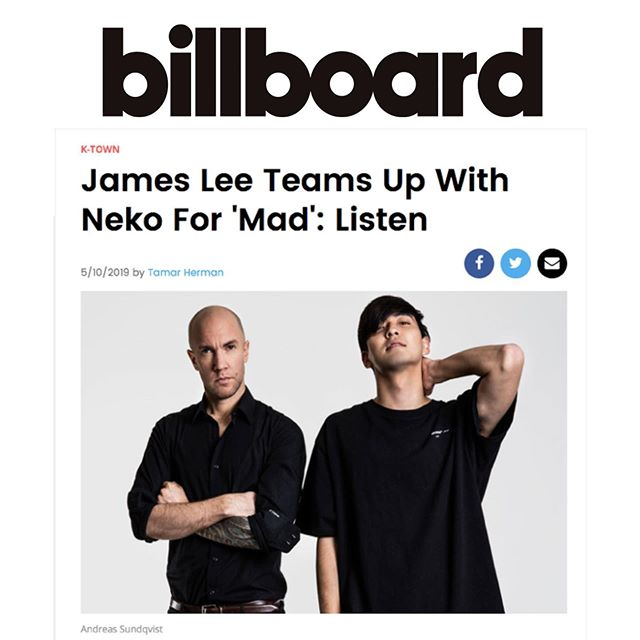 "A huge thank you to @tamarwrites for featuring the new #nekoxjames track ""MAD"" in @billboard!!🙌 . . . ""MAD"" is a song about moving on, written by @jamesjhl and @nekoswe after the traumatic accident that left James without his left hand. ""To me, ""MAD"" is the most important track I've written in a long time. It was crucial that the lyrics were a departure from the depressing songs I wrote after my accident,"" James Lee tells Billboard. Read the full article and listen to ""MAD"" via the link in our bio!🤘 . . . #newmusic #newmusicfriday #royalpirates #royalpiratesjames #neko #eriklidbom #musicrelease #newmusicrelease #newmusicreleases #singlerelease #singlereleases #kpop #popmusic #popmusic #kpopmusic #newmusicalert #spotify #spotifyplaylist #spotifyplaylists #playlistspotify #spotifyforartists #musicindustry #supportsongwriters"
