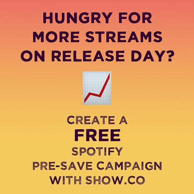 "Did you know you can create a @spotify Pre-Save Campaign for FREE by using Show.co's tools via @cdbabymusic? Get fans to save your new music before it's released ➡️ rack up your pre-saves ➡️ increase your chances of being seen by Spotify's algorithm ➡️ increase the likelihood that you'll be added to Spotify's official playlists on release day! . Learn more about creating a Spotify Pre-Save Campaign from @chrisrobley's article on hypebot.com titled, ""Guide To Getting Your Spotify URI Before Releasing Your Music"". . #PRunplugged #DIYmusicPR #DIYPRgroup #DIYmusician #cdbaby #showdotco #spotifypresave #spotifyhacks #musicreleasehacks #newmusichacks #newmusictips #diymusic #indieartists #indiemusician #musicpromotion #musicmarketing #musicindustrytips #musicPR #spotifyalgorithm #musicstreaming #diyartist #musicbusiness #musicdistribution"
