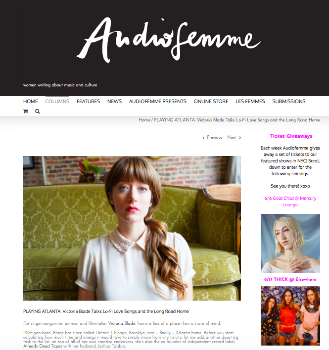 Victoria Blade - Audio Femme - DIY Music PR