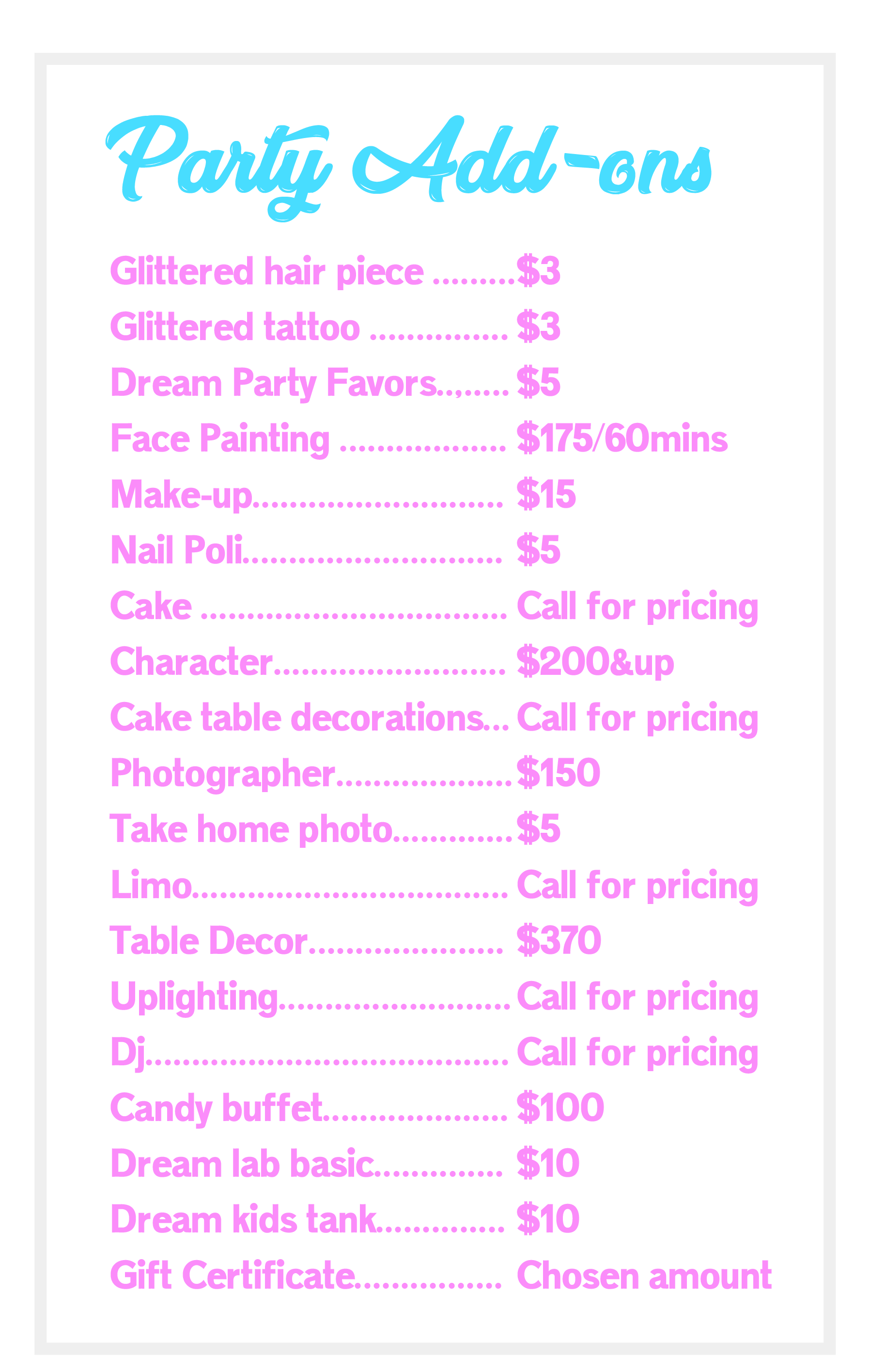 party add ons, spa service, kid service, party entertainment,Kids spa, Kid spa
