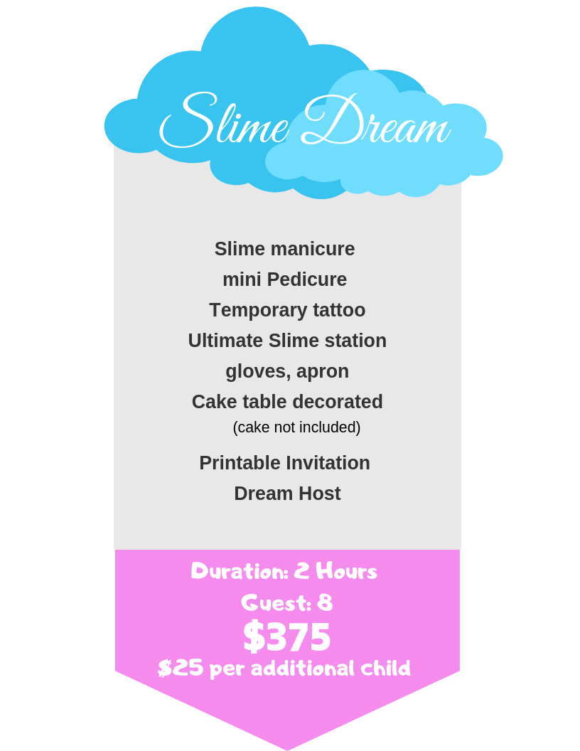 Slime Dream, Boston Slime party, Spa party, Kids Spa, Kid spa, Slime Party