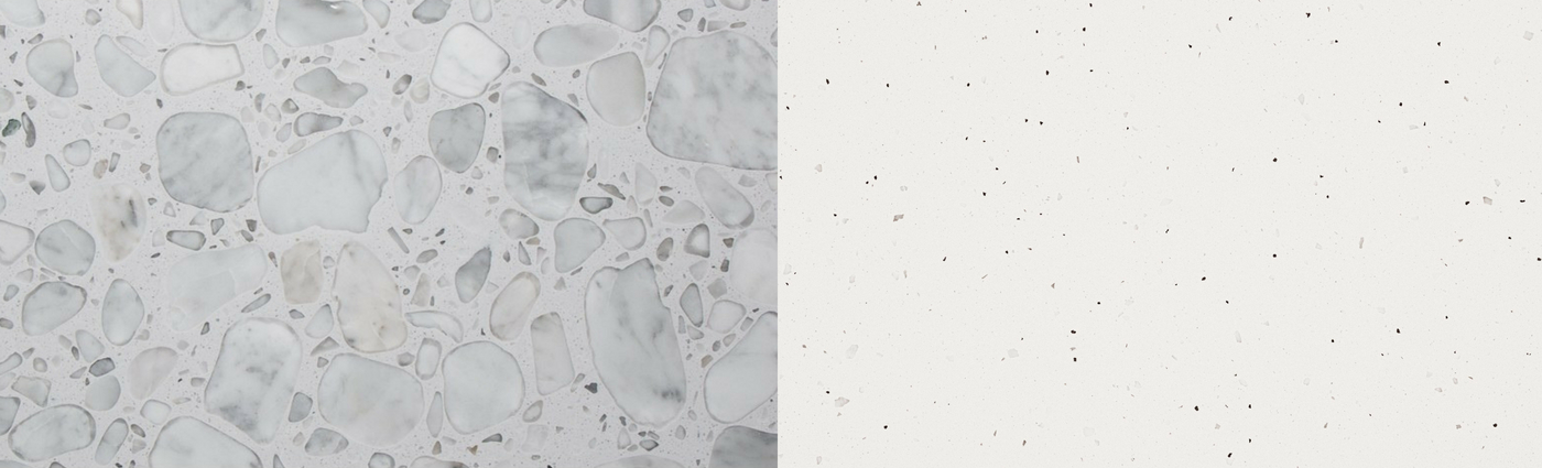 1)  Anne Sacks - White/White Field  2)  Caesarstone - Frozen Terra