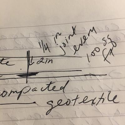 Handwritten notes about concrete expansion joints