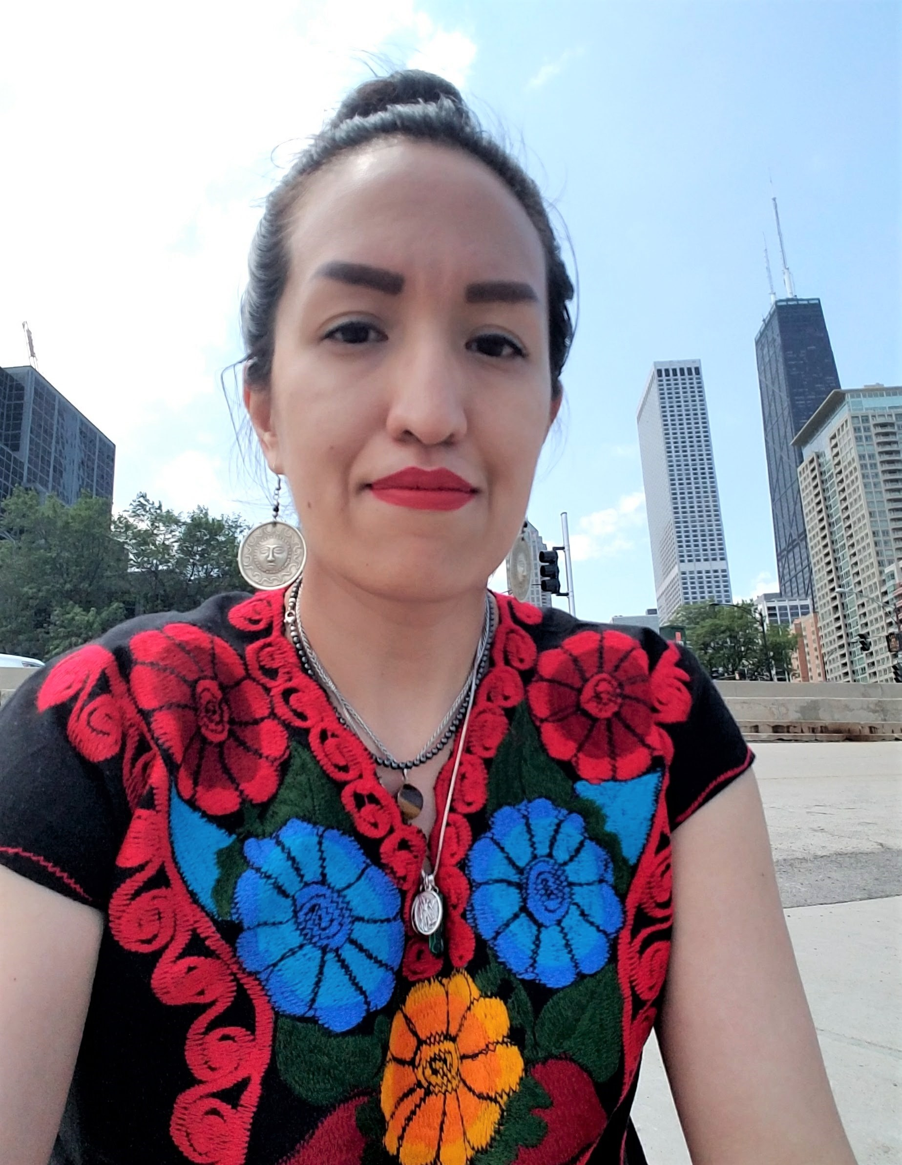 Gladys Carillo - (@CraftyPalette) is a maker and Reiki practitioner who is based in Chicago. She enjoys exploring different creative avenues, with preference for making clothing and visual art. Her work has been featured at the National Museum of Mexican Art.