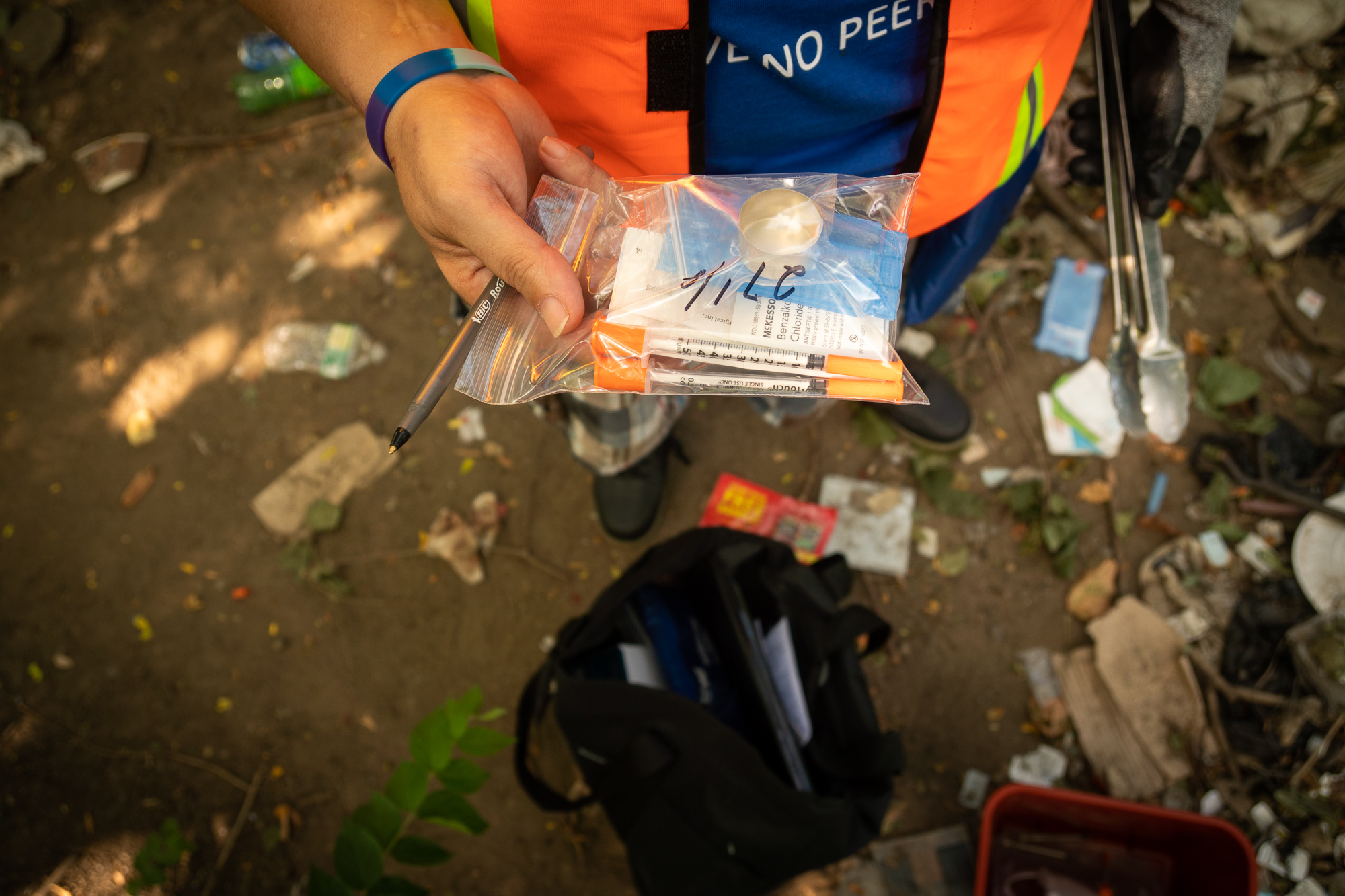A pack of clean drug paraphernalia, distributed to drug users registered with the Project.