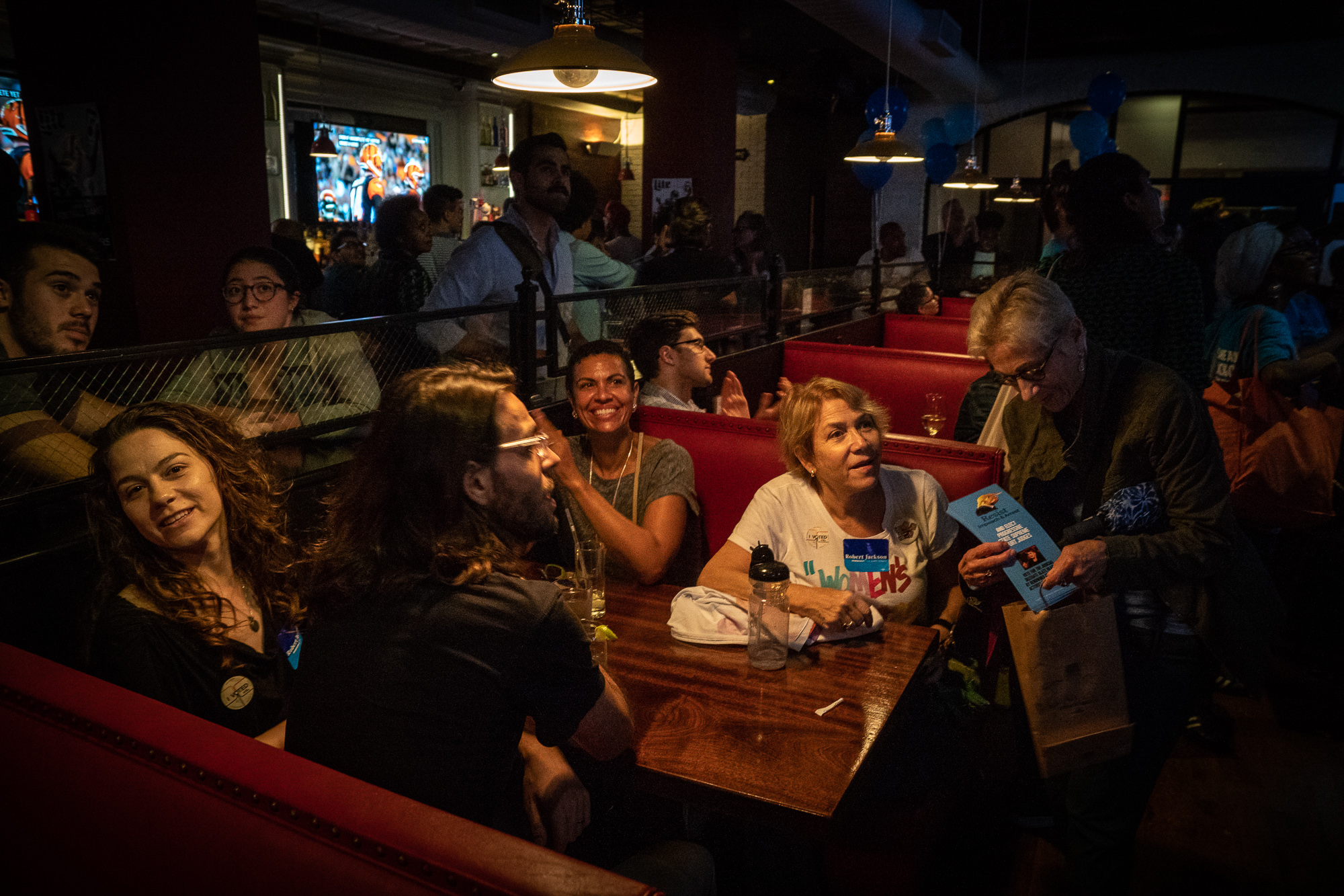 At 8 PM, an hour before polls closed, the booths at Crazy Annie's on Broadway were not yet full - but were soon to be.