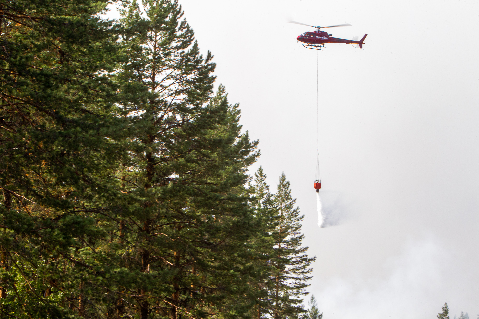 One of the many helicopters water bombing an immense forest fire in Hälsingland, Sweden.