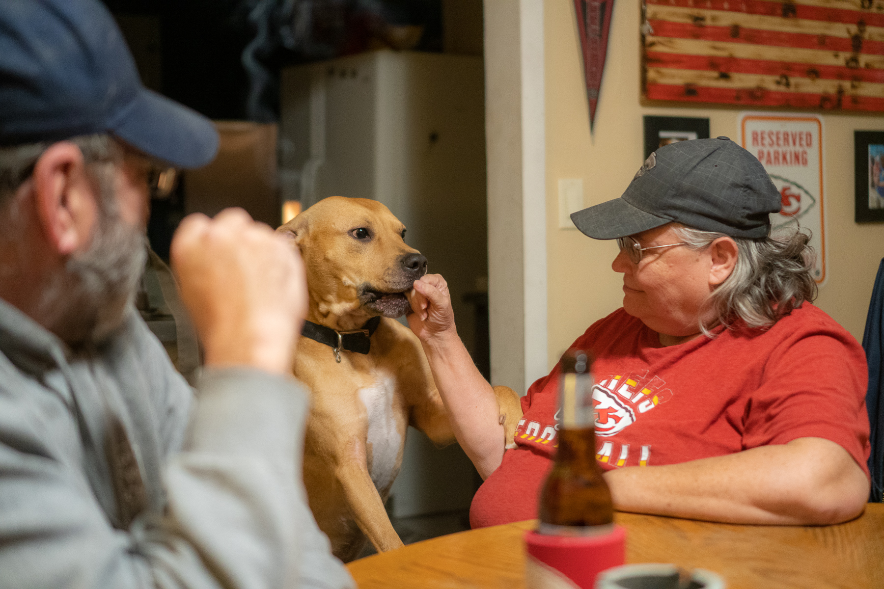 Casey Schardein's dog, which now lives with his former dad's parents with three other dogs, keep Ed and Iwonne company in their Herington, Kansas, home.