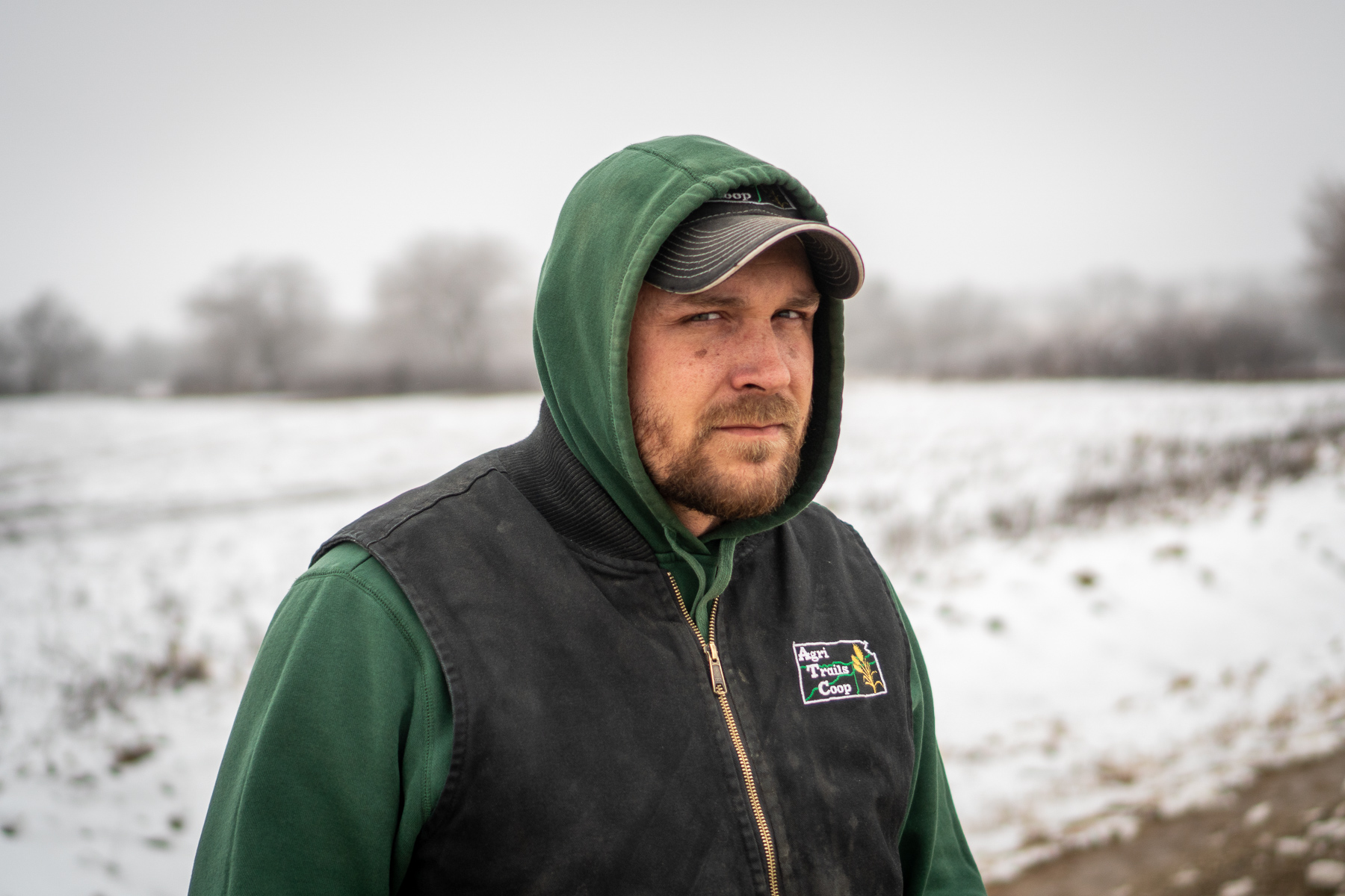 Jordan Gott, Casey Schardein's cousin and colleague at the crash site outside of Hope, Kansas, on January 18, 2019. He said that they had both become more careful with drunk driving as they grew older.