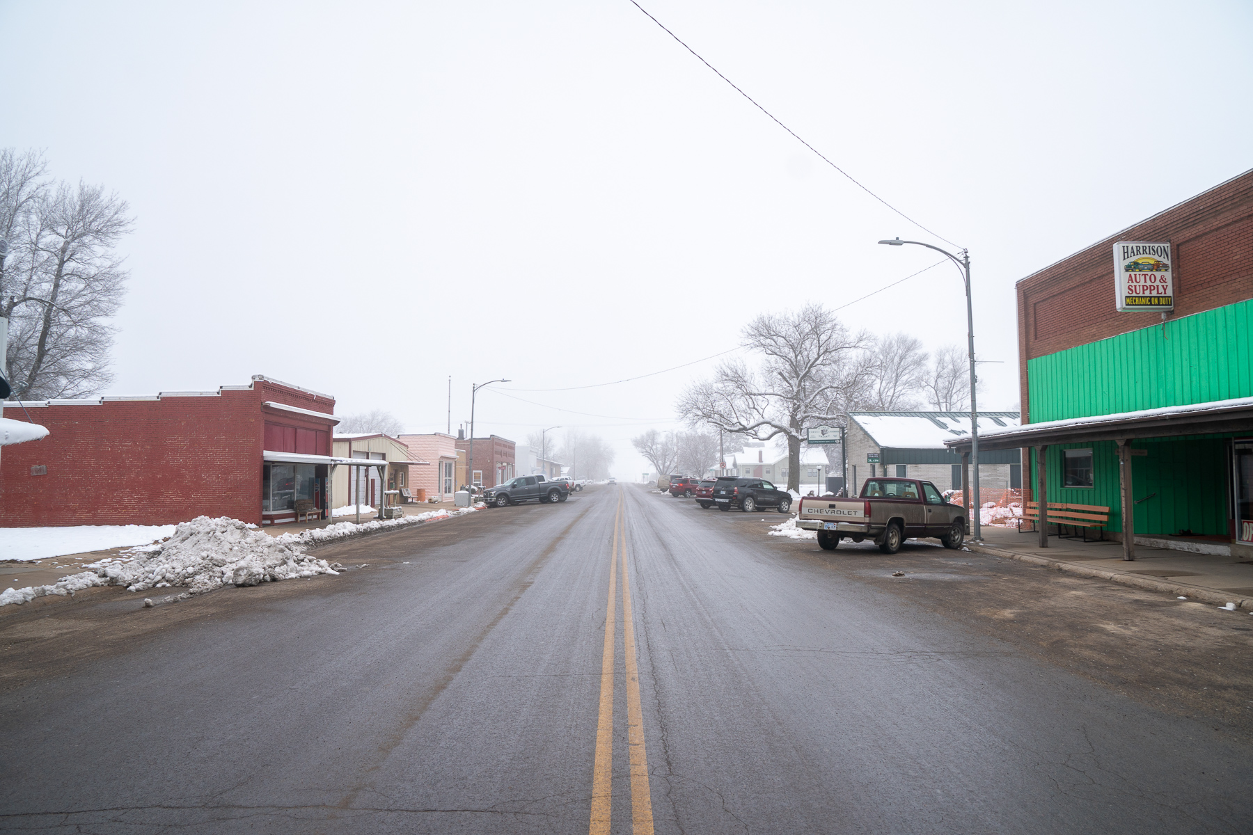 Main Street in Hope, Kansas, on January 15, 2019. Only a few businesses line the street, including the local bank, the Post Office, and an auto parts store.
