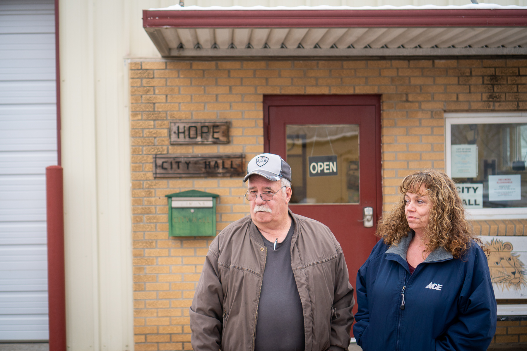 Larry Ryff, Hope Mayor, and City Clerk Joni Rickard outside of Hope's small city hall on January 15, 2019.