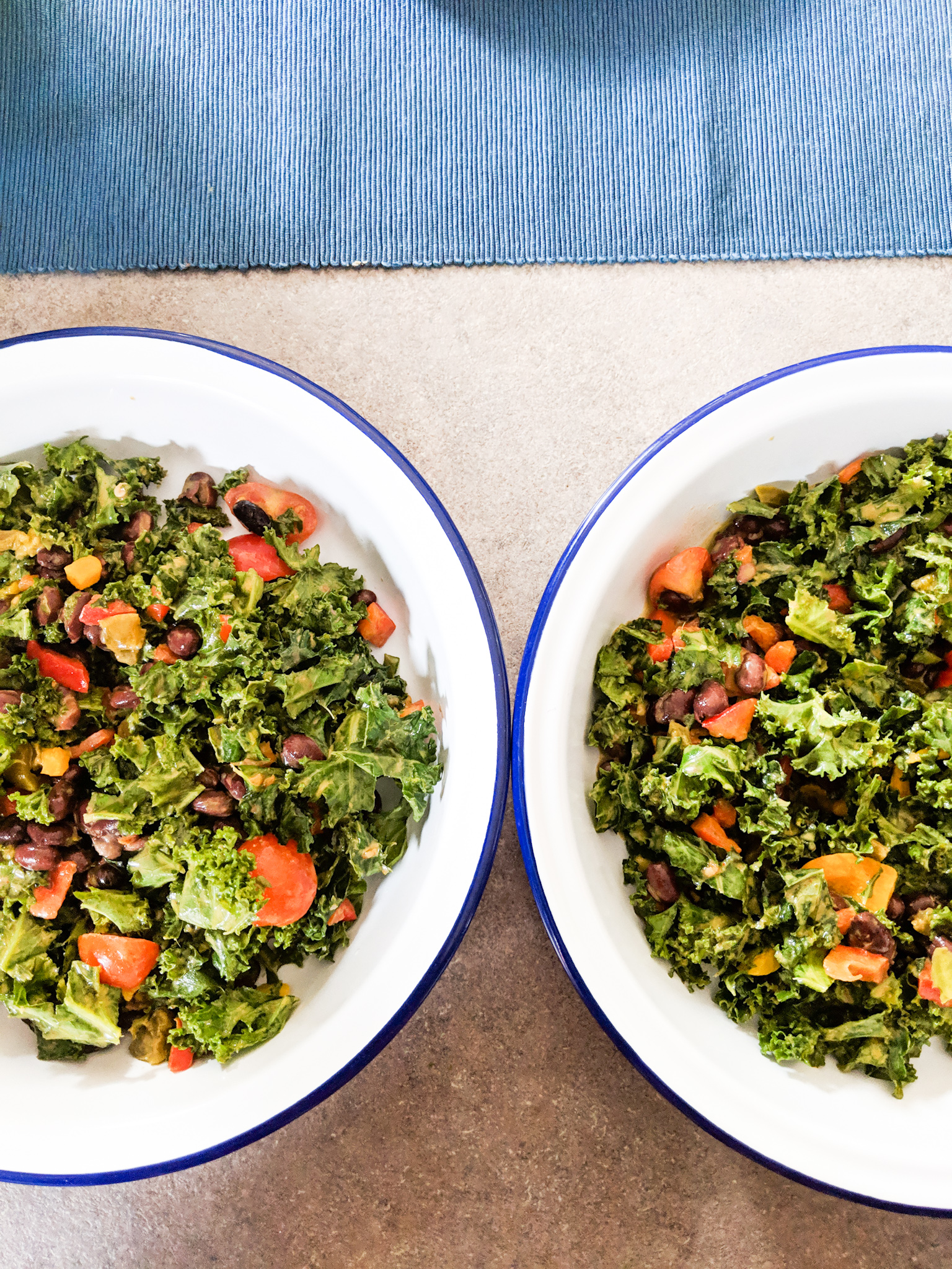 Dressed Kale Layer + Peppers, Black Beans, Tomatoes, Avocado + Jalapenos Layer