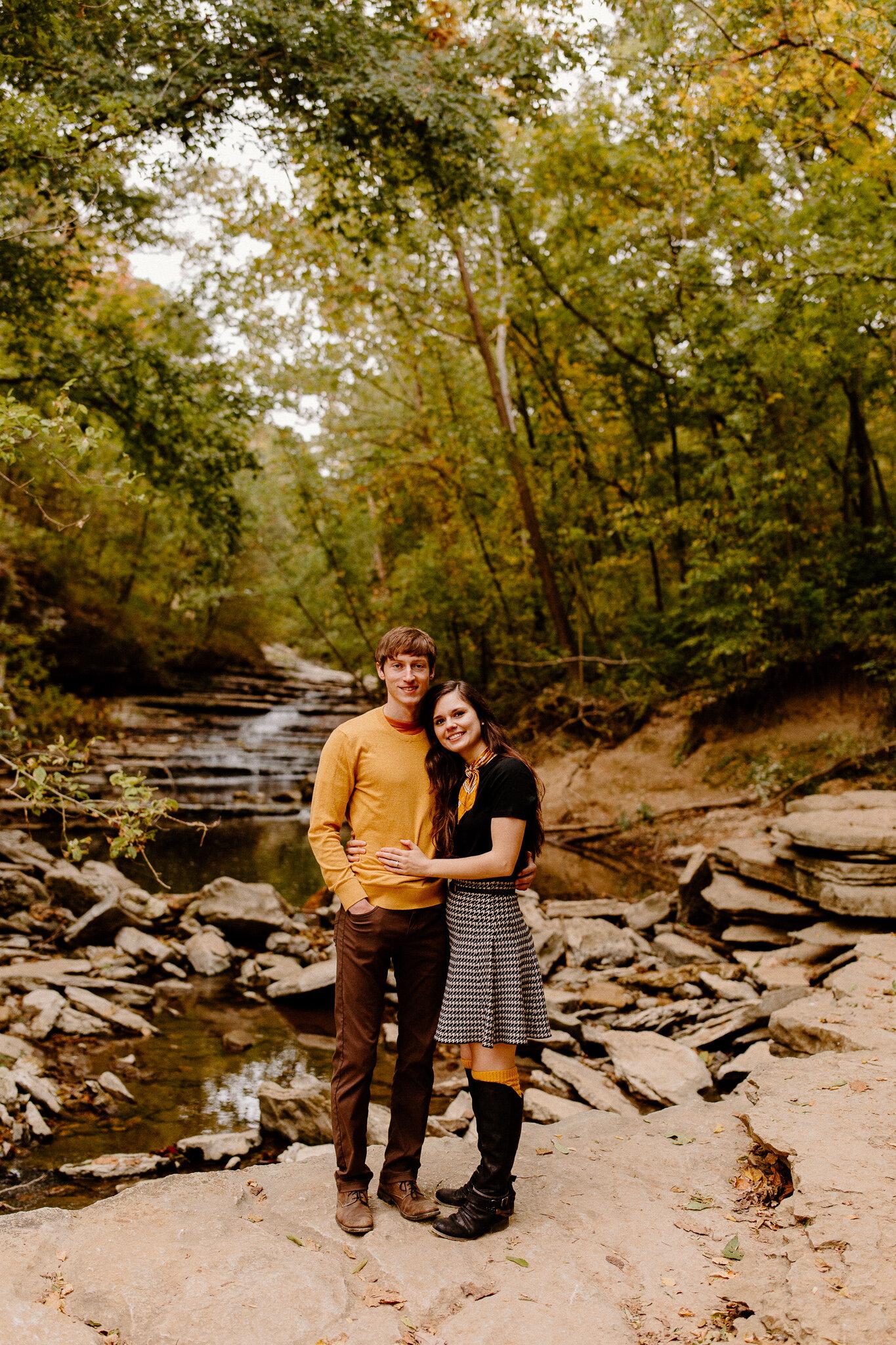 arkansas waterfall engagement photos