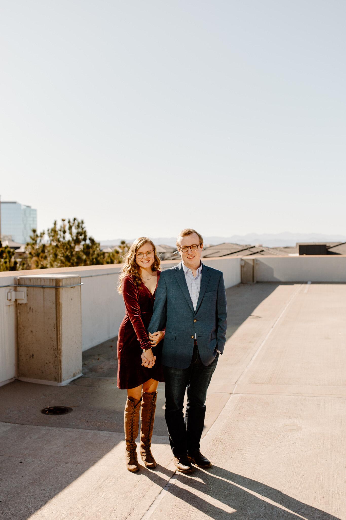 denver rooftop engagement photos