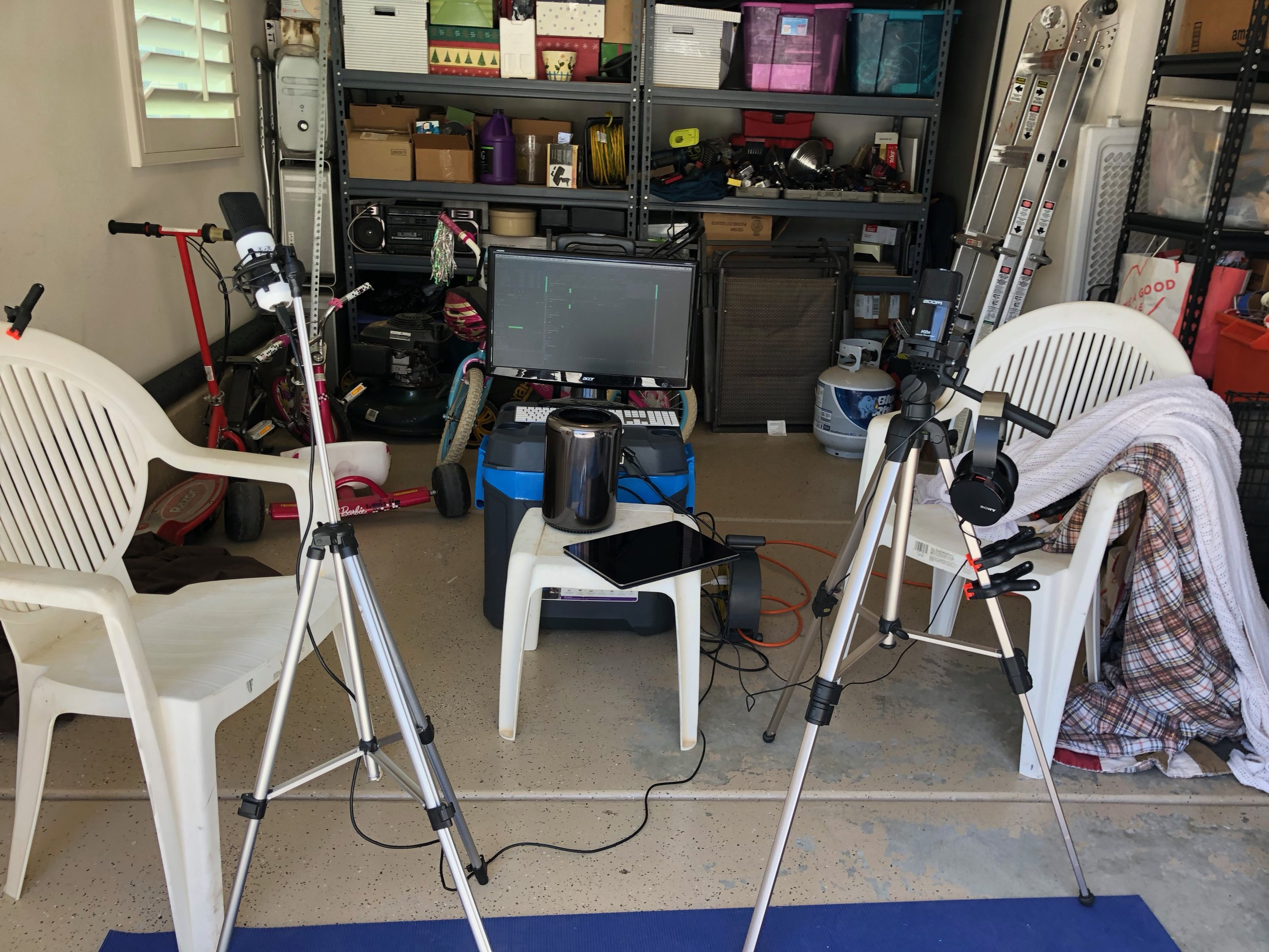Sweet podcast setup dude! - Just like the old days! Still hiding in the garage.
