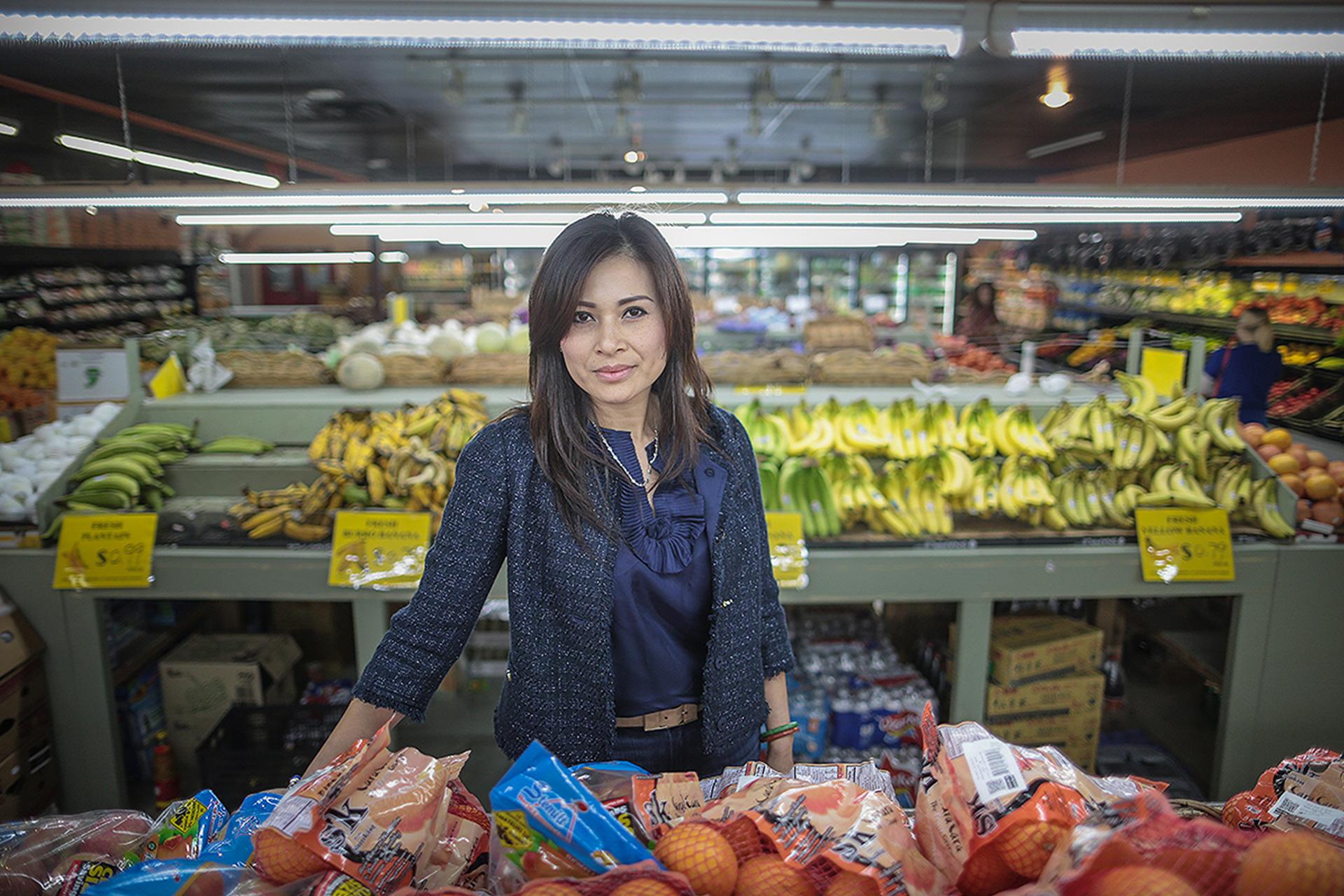 Karina inside the Viet Hoa Food Market on Cleveland.