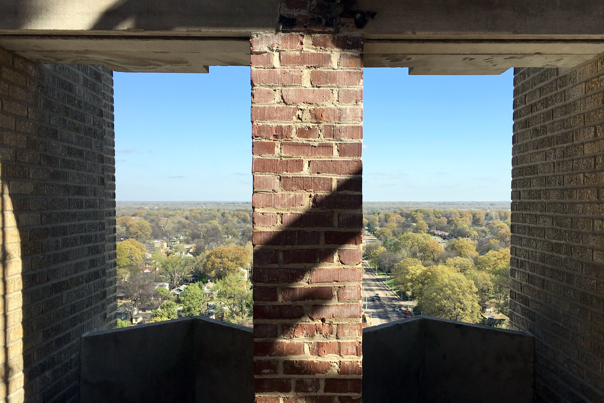 Looking out from the tower.