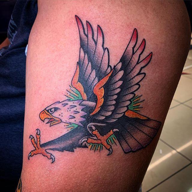 Eagle. @elmstreettattoo . . . . #tattoos #dallas #dallastexas #elmstreettattoo #tattooflash #dfw #americanatattoos #tattoo #party #fun #goodtimes #dallastattoo #dfwtattoo #traditionaltattoo #colortattoo #blacktattoo #bright_and_bold #sailorjerry #classictattoo #tradtattoo #americantraditional #realtattoos #oldlines #elmstreet #deepellum #texas #texastattoo #dynamicblack #solidink #tattoos #vulcanneedles