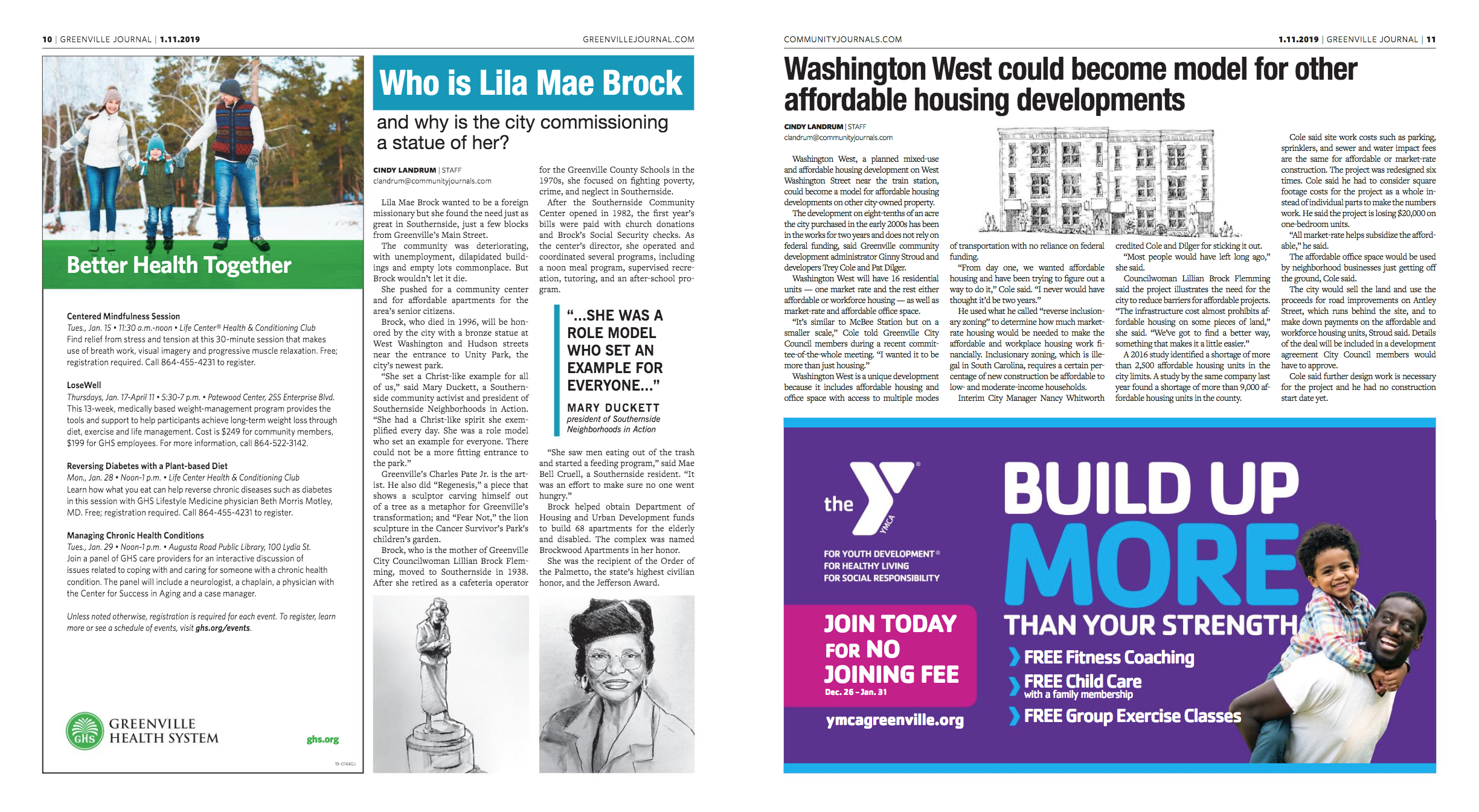 In The News - Washington West was featured in the Greenville Journal in January 2019