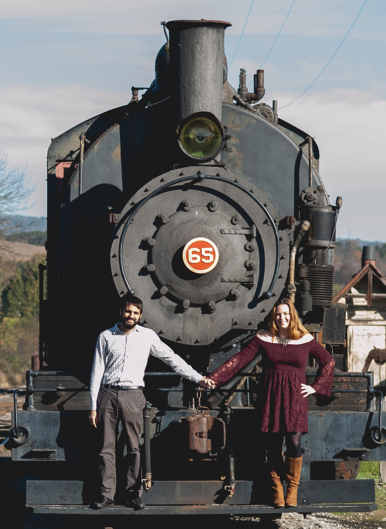 This is my boyfriend Mike and I at our favorite little tourist railroad, WK&S in Kempton, PA. Mike works there on weekends and I help when I can, but I mostly just visit for a ride with the baby now. She loves the train! My amazing friend Amanda Steinborn took this portrait of us.