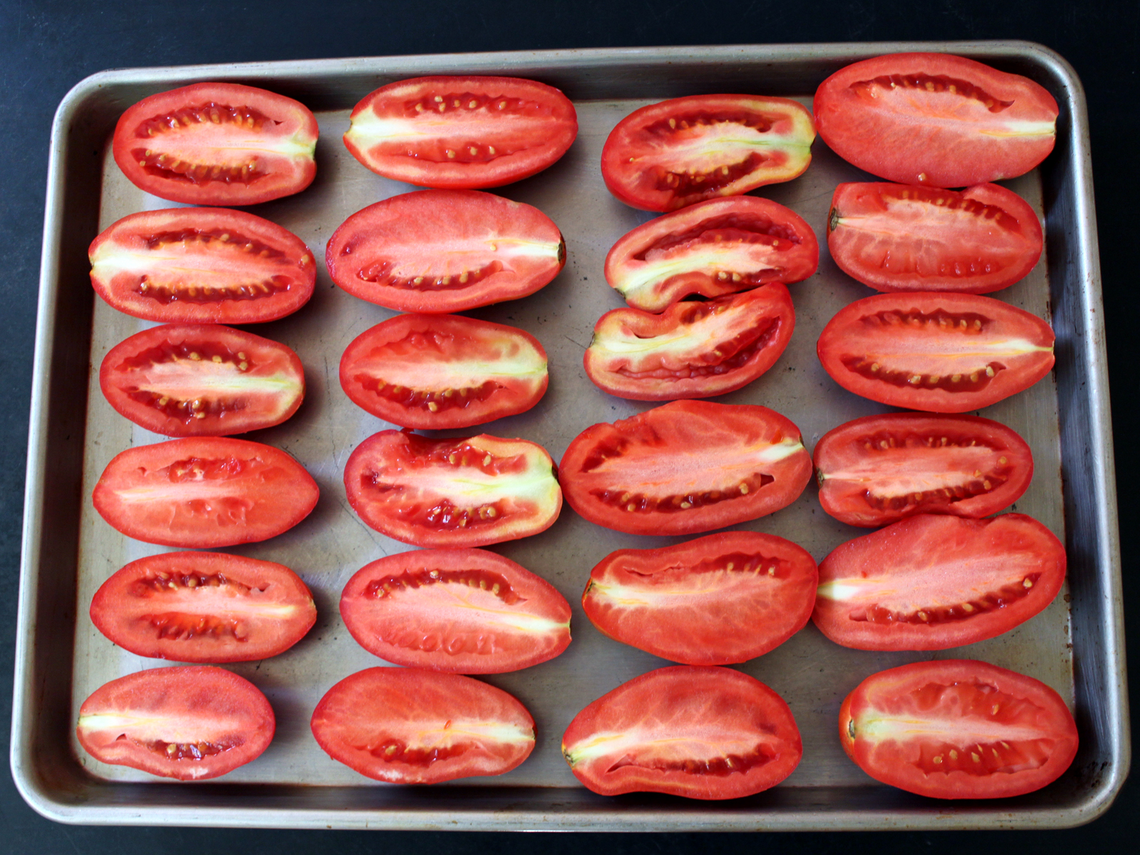 plum tomatoes slow roasted for maximum flavor and to extend summer