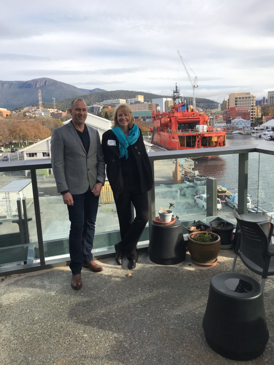 Shaun Deverson, Director at Lighthouse Road with The Antarctic Science Foundation's Executive Director, Chrissie Trousselot in Hobart.