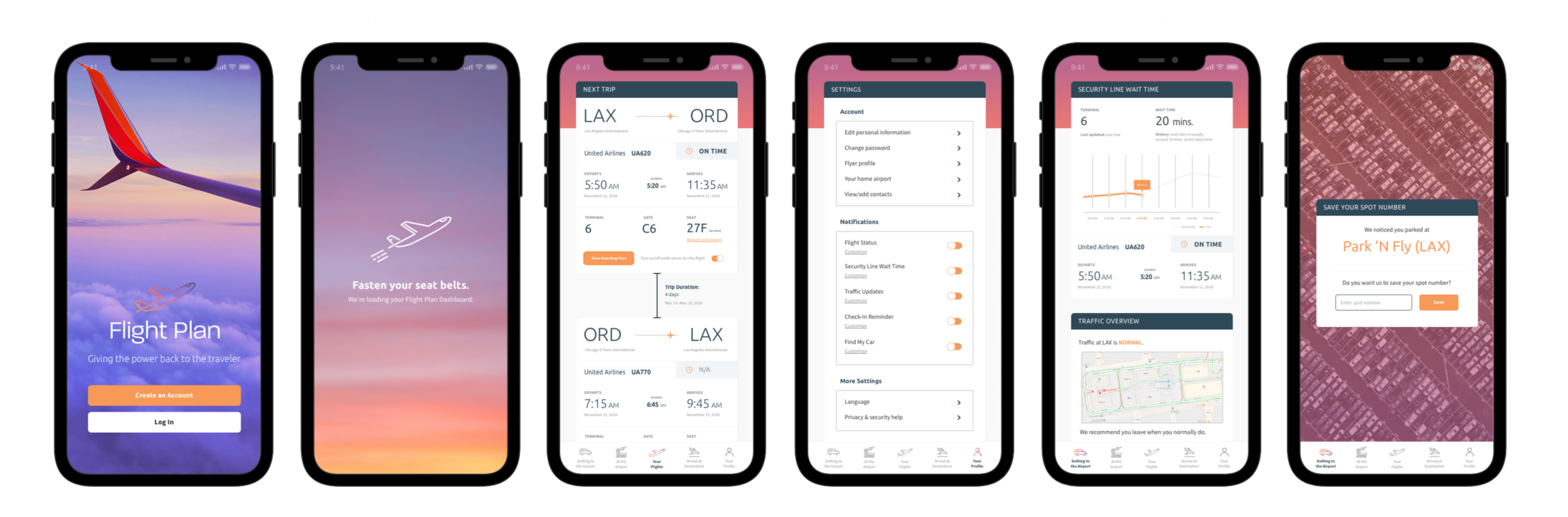 A preview of Flight Plan screens with branding and UI plugged in.