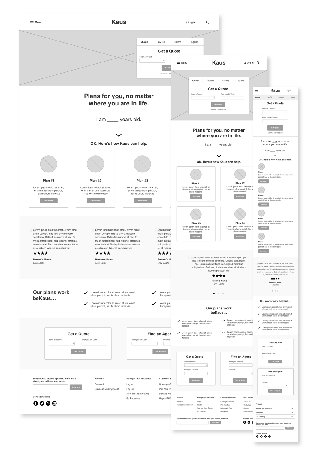 Preliminary Wireframes - During this step of the process, I wireframed the screens for Kaus' home page, product page, and quote form. These were then utilized for preliminary prototyping.I ultimately chose to prototype Kaus' auto insurance quote form on desktop after reviewing research findings. Since oftentimes this is the first interaction people have with an insurance company online, I wanted to ensure it was seamless before going to production.