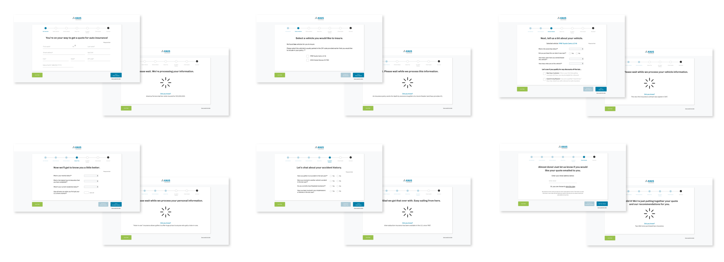 Final UI designs for the quote form, used during usability testing.