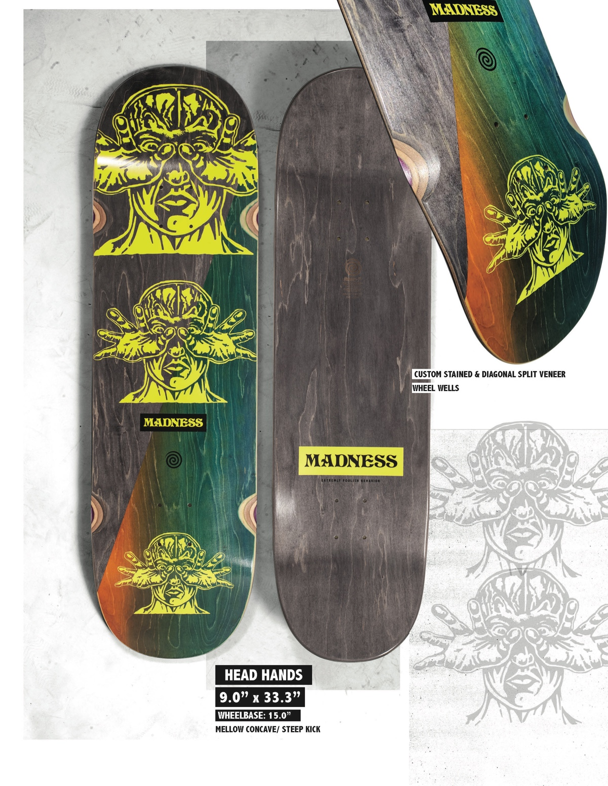 Copy of MADNESS Head Hands 9.0 R7 Skateboard Deck