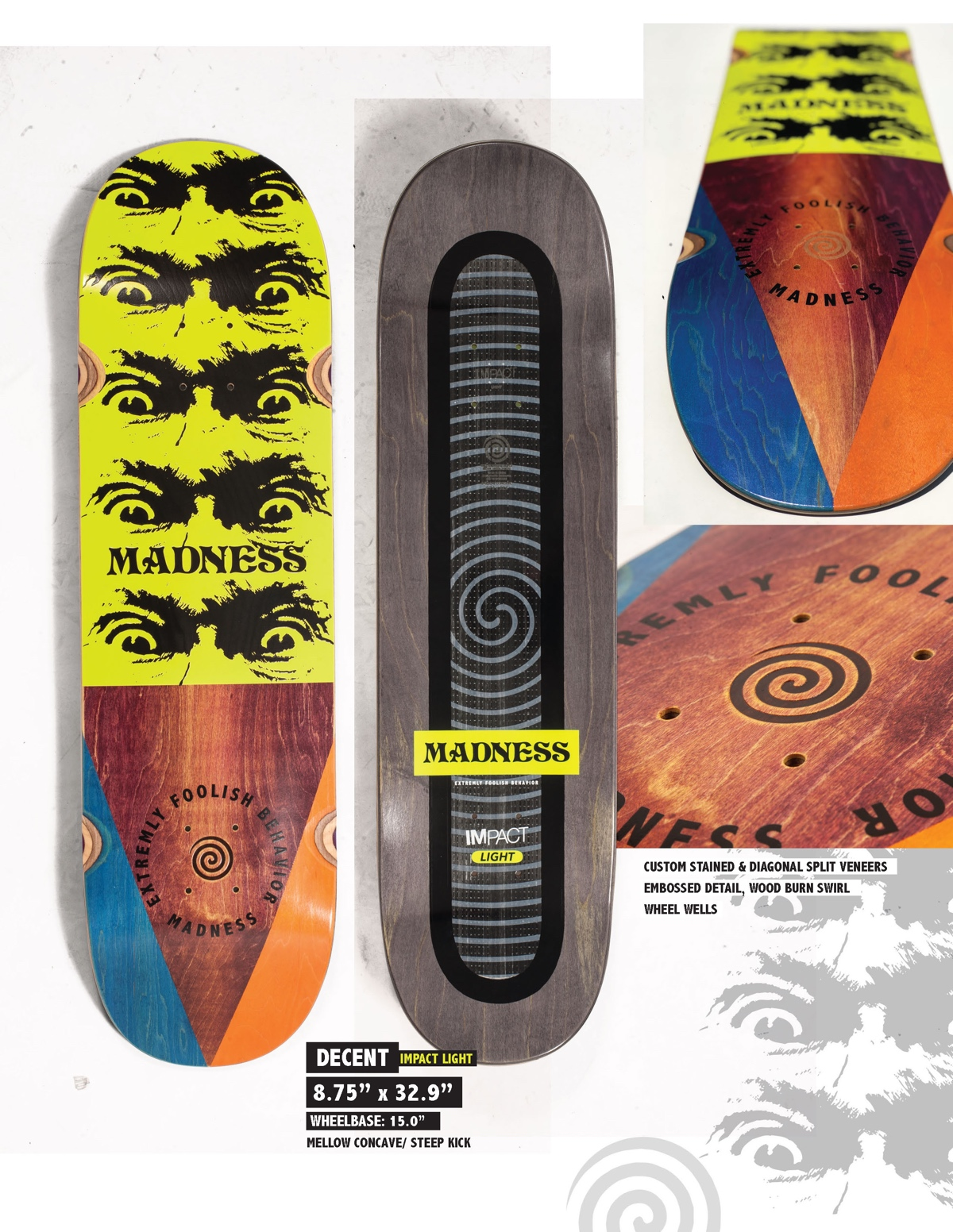 Copy of MADNESS Decent 8.75 Impact Light Skateboard Deck