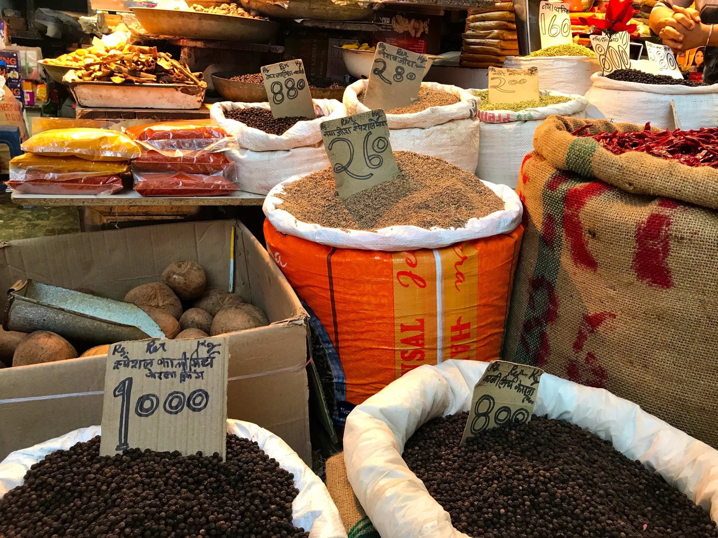 spices in Chawdni Chowk market, Dehli, India