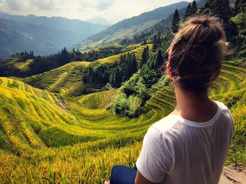 View at the top of the Longji Rice Terraces
