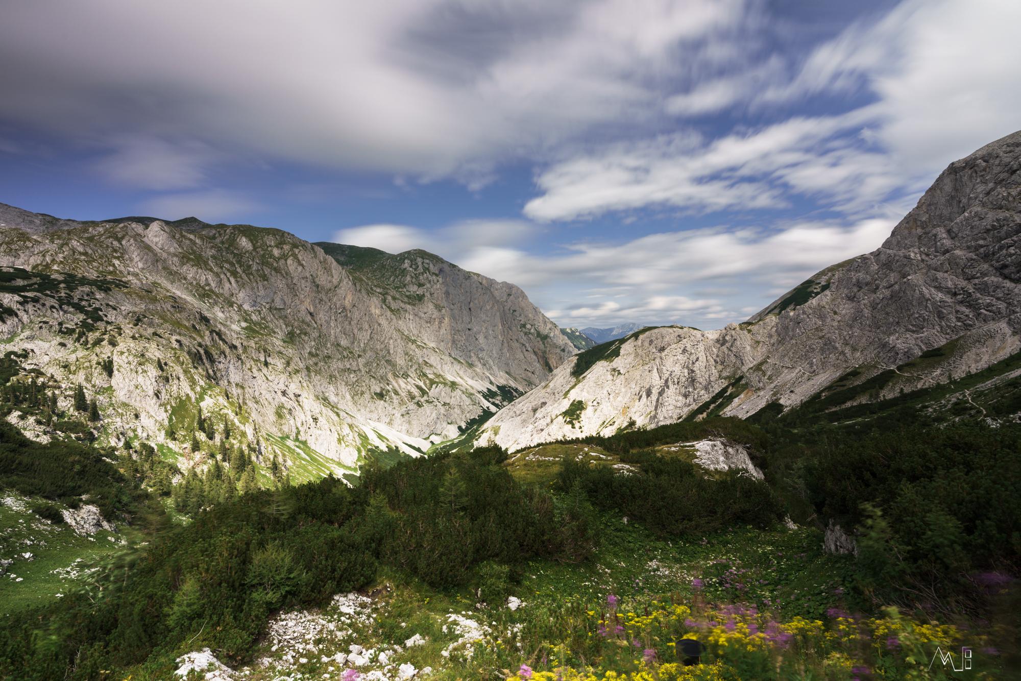 Blick von der Hütte Richtung Seewiesen