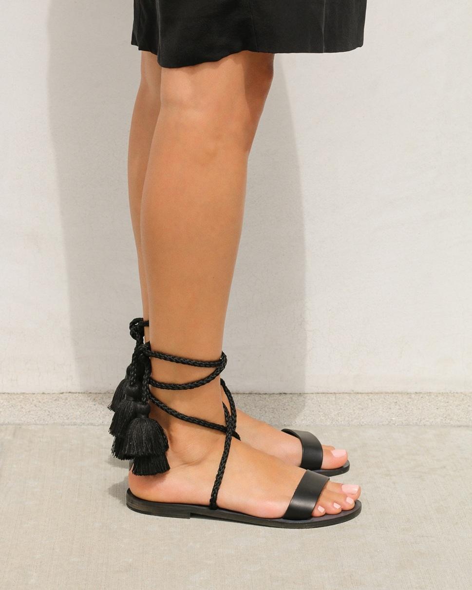 Yuna Black Lace-up Sandal — Yumayo