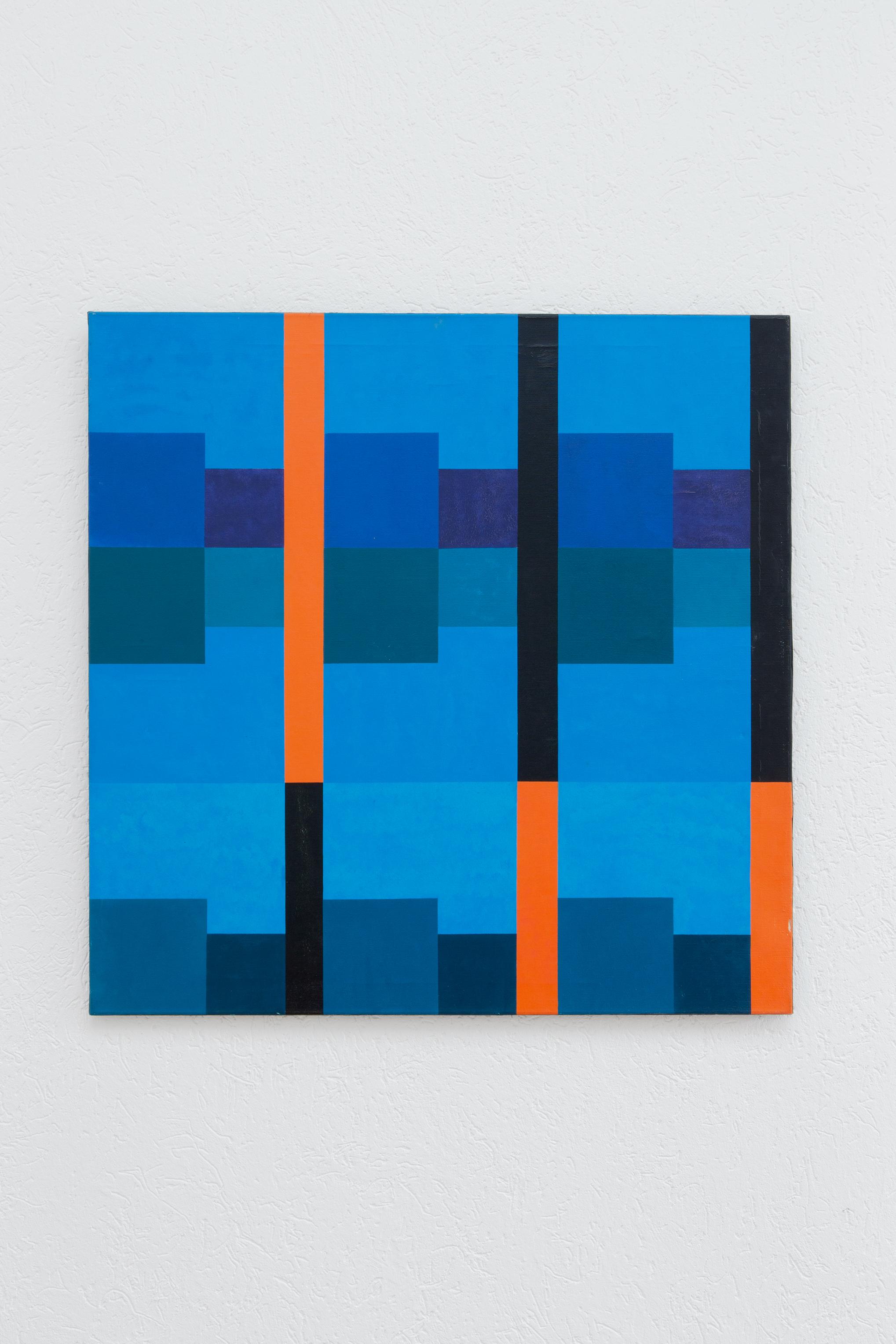 Hedi Mertens,  Ohne Titel , 1970, Öl auf Leinwand, 100 x 100 cm